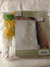 """Tobin Stamped Embroidery kit 20"""" x 30"""" Pillowcases Yellow Daisies #232060  Floss"""