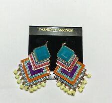 Fashion Earrings diamond shapes- colorful - beads blue orange yellow French wire