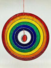 Rainbow Coloured Suncatcher Glass Multicoloured Round 13cm Across