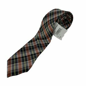 """Ben Sherman Silk Neck Tie Mens One Size (2.5"""" Wide) Plaid Business Formal New"""