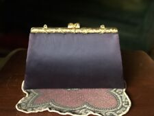 Vintage Black Satin Evening Bag w/Gold Jeweled Top w/Stars&Gold Chain Clear&Colo