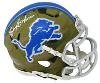 Barry Sanders Signed Detroit Lions CAMO Riddell Speed Mini Helmet - SS COA