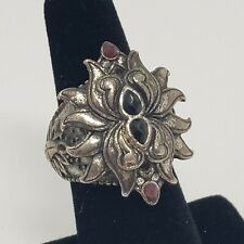 Lucky Brand Silver Tone Double Lotus Ring Size 7 Large Chunky Faux Stone Accents