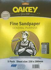 10 x Oakey General Purpose Fine Sandspaper Sheets Wall Celing Paint Sanding DIY