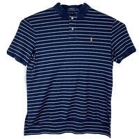 POLO RALPH LAUREN PIMA SOFT TOUCH Polo Shirt Short Sleeve Striped Blue Sz L