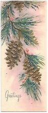Vintage Greeting Card Christmas Pine Cones Green Glittered Pink Mid-Century