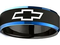 Chevrolet Ring Chevy Wedding Band 8mm Tungsten Black and Blue Sizes 6 - 13