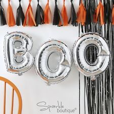 Silver BOO HALLOWEEN Bunting (NO HELIUM NEEDED) Spooky Party Balloon Decoration