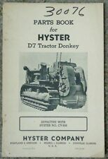 VINTAGE HYSTER D7 CATERPILLAR TRACTOR DONKEY PARTS BOOK MODEL CV
