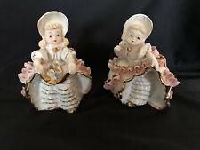 Two Vintage Lefton Bloomer Girls Figurines 1950's