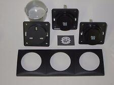 Berker 240v & 12V Triple treble Socket kit, inc frame and contact box Anthracite