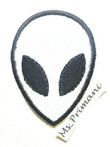 UFO Alien White Head Face Embroidered Iron Sew On Patch