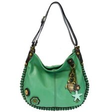 New Chala CONVERTIBLE Hobo Large Tote Bag Metal SEA TURTLE Pleather Teal Green