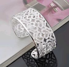 925 sterling silver bracelet wide cuff bangle dusted with diamond crystal