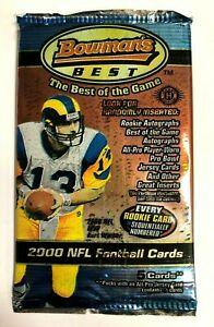 2000 BOWMAN'S BEST FOOTBALL CARD HOBBY PACK UNWEIGHED (5 Cards Per Pack)