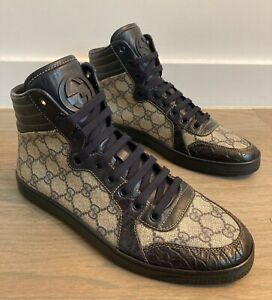 Gucci Men's GG Supreme Crocodile High Top Sneakers Sz 7.5 G =  US 8.5