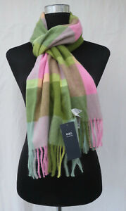 LADIES MARKS AND SPENCER GREEN MIX CHECK SCARF WITH TASSELS