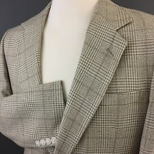 USA Tweed Glen Plaid 2 Btn Beige Cream Meeting Street Sport Coat Blazer 40R