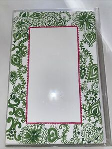10 thank you cards - Flat Notecards blank- New- Green, White, And Pink Design