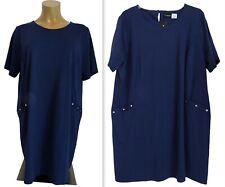 NEU Übergröße schickes Damen Stretch Kurzarm Shirt Kleid d.blau Gr.60,62
