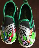 Youth Sz 8 Teenage Mutant Ninja Turtles Canvas Slip On Sneaker Tennis Shoe Boys