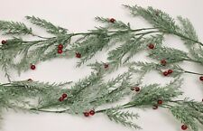 Gisela Graham Weihnachten Blassgrün Tannenholz rot Beeren Girlande 180cm