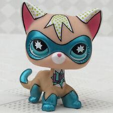 Littlest Pet Shop LPS Super Hero Toys Short hair Cat Blue Eyes Comic Con Masked