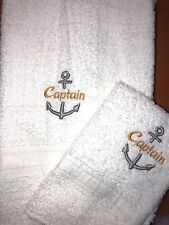 Embroidered Hand Towel and Wash Cloth Set-  CAPTAIN with Anchor- Occupation