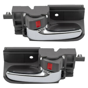 Pair Set Inside Interior Chrome & Grey Door Handle for 03-08 Toyota Camry