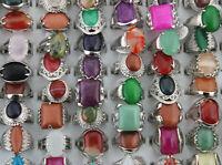 Wholesale Mixed Lots 50pcs Fashion Big Natural Stone Lady's Silver Plated Rings