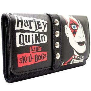 NEW OFFICIAL HARLEY QUINN & THE SKULL BAGS STUDDED BLACK COIN & CARD PURSE
