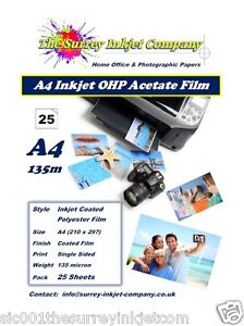 A4 Inkjet Transparency OHP Acetate Film 135 micron 25 SHEETS Instant Dry Film