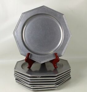 """8 Carson Castings PEWTER Armetale Octagon CHARGER Plates 11.5"""""""
