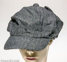 Newsboy Cap 1920's-1930's Era Black & White Tweed Brimmed Costume Hat