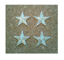 """Stars - Silver - 1 5/8"""" - Embroidered Edged Stars - Iron On Patches - Set Of 4"""