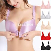 Women 34-52 A-E Cup Front Button Close Seamless Bra Wire Free Push Up Bralette