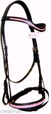 """Designer """"U"""" PINK crystal bridle + crystal noseband & Browband - COB Black"""