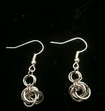 Handmade mobius flower single drop silver chain maille earrings.  NWOT