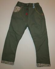 New NEXT UK Olive Green Flower Cuff Pants 4T 5T 110cm Adjustable Waist Girls