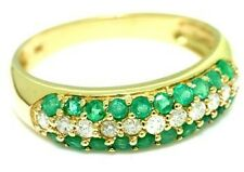 1.55ct Emerald & Diamond 9ct 9K Solid Gold Pave Ring - Sz O/7.5 - 30 Day Refunds