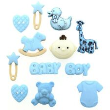 Blue Baby Boy Buttons - Baby Shower Decoration, New Baby Card - Cute Boy Buttons