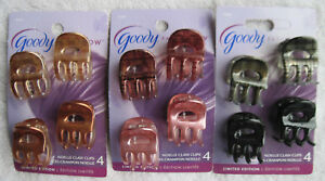 4 Goody Shiny Noelle Claw Clips Small Plastic Jaw Hair Clips Open Center Blonde