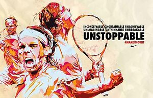 "RAFAEL NADAL ATP TOUR ""UNSTOPPABLE MAKE IT COUNT""  POSTER AUSTRALIAN OPEN 2018"