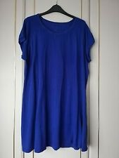 SIMPLY BE WOMENS BLUE STRETCH DRESS SIZE 22 SHORT SLEEVE LENGTH 35 CREW NECK