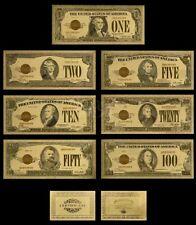 <MINT GEM>1928 Series Set~GOLD~UNC.$1-$100 DOLLAR Rep*Banknotes W/COA~USA SELLER
