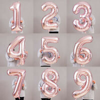 """Giant Rose Gold 0-9 Number Foil Balloons 32""""/42"""" Digit Helium Ballon Party Decor"""