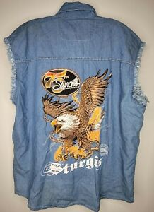 Sturgis Motorcycle Rally 75th Anniversary Blue Denim Sleeveless Biker Vest Eagle