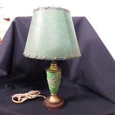 Antique Japanese Design Porcelain Moriage Table Lamp Fiberglass Shade
