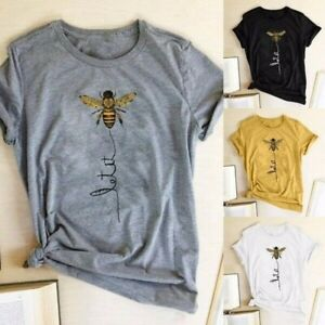 Womens Summer Funny Top Bee Printed Tee Casual Loose Fashion Cute Casual T Shirt