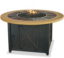 Uniflame Gad1362sp Lp Gas Outdoor Firebowl With Slate And Faux Wood Mantel